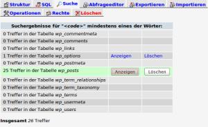 MySQL - Suchergebnis