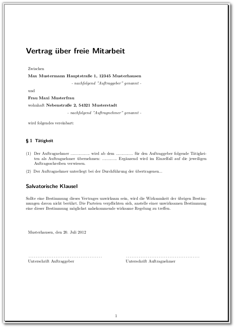 Brief Nach Zwei Tagen Nicht Da : Latex vorlage für verträge meinnote s