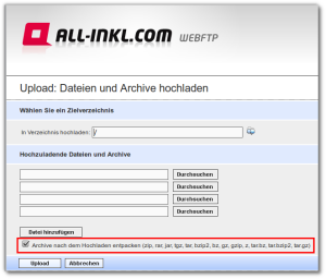 Upload auf all-inkl. Webspace